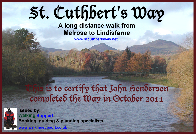 Walking Support St Cuthbert's Way completion certificate